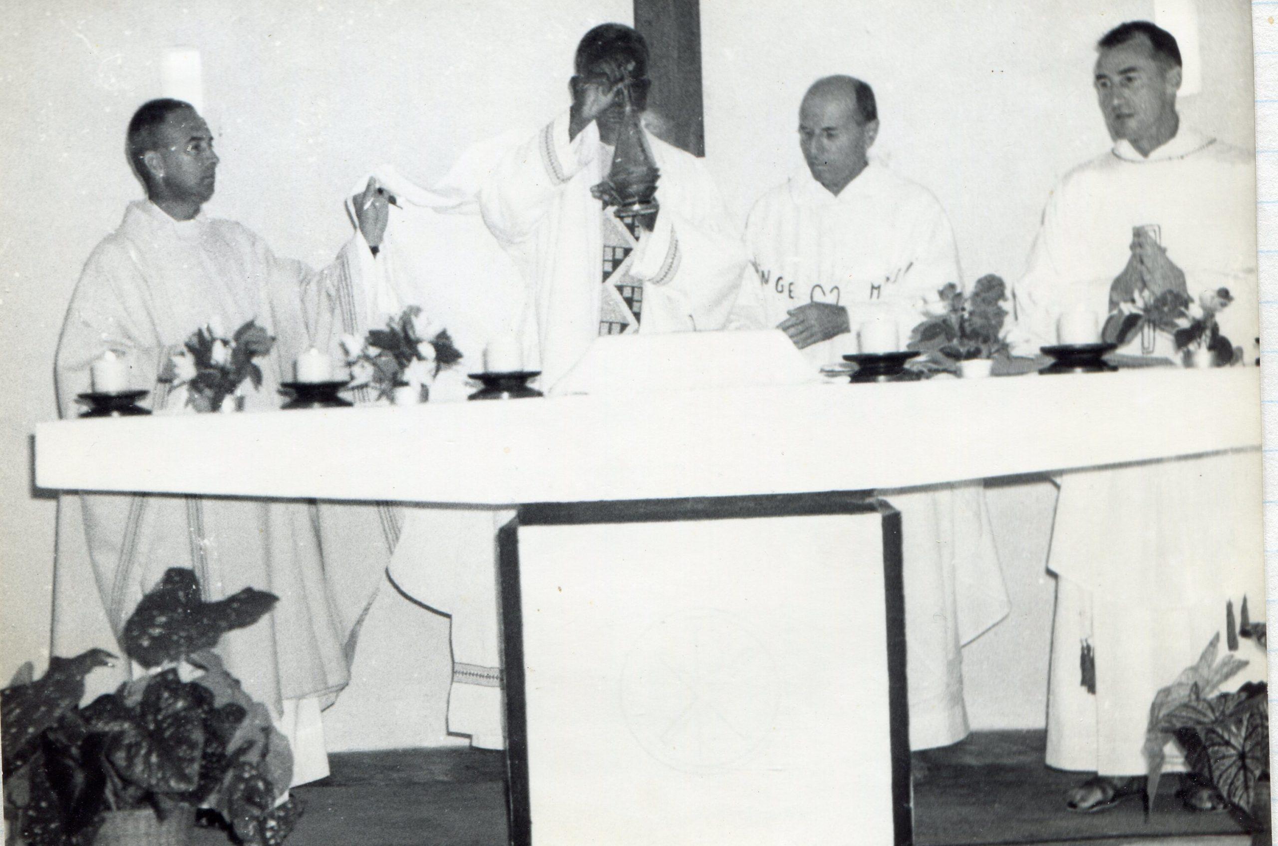 Père Rivain, Mgr Mongo, Père Crugnot et Père Jaccard